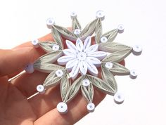 Snowflake White Grey Frosty Christmas Tree Decoration Winter Ornaments Gifts Toppers Fillers Office Corporate Paper Quilling Quilled Art