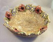 Pottery fruit bowl, poppy design ceramic bowl, decorative bowl, housewarming or wedding gift. - pinned by pin4etsy.com
