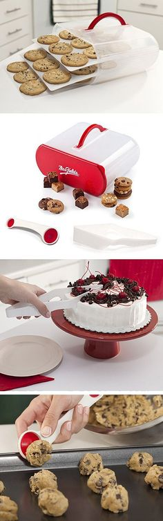 3 must-have #baking accessories for cookies and cakes // the Bakers Sto' N Go™ Carrier, Scoop N Cut™ Tool and Slice N Easy™ set #product_design #kitchen