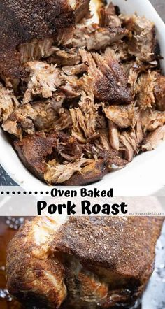 This Easy Pork Roast In Oven Recipe is a great way to get fa.- This Easy Pork Roast In Oven Recipe is a great way to get falling apart pulled pork the old fashioned way. No need for a pressure cooker or slow cooker, just slow oven roasted pork. Baked Pork Roast, Pork Roast In Oven, Pork Roast Recipes, Pulled Pork Recipes, Oven Recipes, Cooking Recipes, Recipe For Pork Ribeye Roast, How To Roast Pork, Boneless Pork Butt Recipe