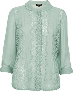 Geo Lace Rolled Sleeve Blouse