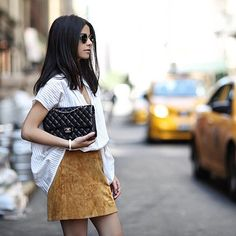 31 Flawless Outfits To Copy This July #refinery29  http://www.refinery29.com/july-outfit-of-the-day-ideas#slide-10  It's no secret we're proponents of suede in the summertime, especially the variety that won't leave you sweating your butt off. So how do you rock a heavy material in the season that sees excessively high temps? 1) Go with as little material as possible (hence the mini). 2) Pair it with the loosest, most oversized button-up T-shirt you can possibly find. See, no overheating…