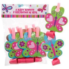 """Happy Birthday"" Butterfly Party Blowouts, 8-ct. Pack"