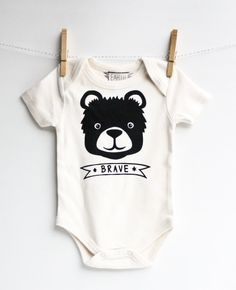 Brave Bear   hand printed organic baby bodysuit by EarthCadets