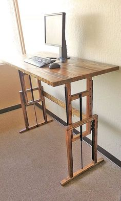 """Spread out over ten square feet of work surface - Think on your feet with 16"""" of height adjustment - Express yourself through elegant hardwoods"""