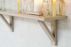 Industrial Shelving Brackets With Glass Bottle