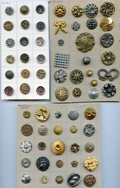SOLD: Many cards of metal and a few metalized plastic buttons antique & vintage