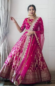 Latest Collection of Lehenga Choli Designs in the gallery. Lehenga Designs from India's Top Online Shopping Sites. Pink Bridal Lehenga, Designer Bridal Lehenga, Indian Bridal Lehenga, Lehenga Wedding, Floral Lehenga, Indian Bridal Outfits, Indian Designer Outfits, Designer Dresses, Designer Clothing
