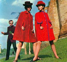 Vintage fashion 1960s red cape jackets from a USSR 'Sputnik' magazine