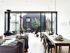 'Minimal Interior Design Inspiration' is a weekly showcase of some of the most perfectly minimal interior design examples that we've found around the web - all Victorian Terrace House, Victorian Style Homes, Modern Victorian, Interior Design Examples, Interior Design Inspiration, Design Ideas, Inspiration Boards, Black Window Frames, Black Frames