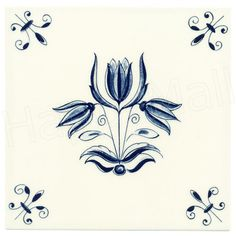 Tulip Flower, Dutch Delft Tile 6