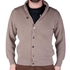 PETER SCOTT 100% Cahmere 3 Ply Knitted V Neck Cardigan 23085: Dark Natural