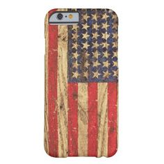 Vintage Patriotic American Flag on Old Wood Grain Barely There iPhone 6 Case