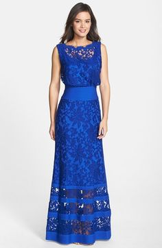 Free shipping and returns on Tadashi Shoji Lace Blouson Gown at Nordstrom.com. Elaborately embroidered lace fashions a stately, bateau-neckline gown highlighted with bold stripes around the waist. The subtly flared skirt enhances the powerfully feminine silhouette.