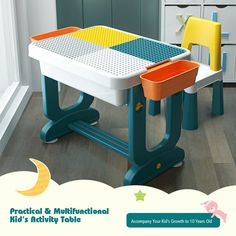 The double-sided board with one smooth side for learning, drawing or eating. While the other side is compatible with blocks, inspiring your kids' creativity and cultivating their hands-on skill! Moreover, no tools are required for the assembly. It is also easy to take apart in minutes. Therefore, your little kids could put all the parts and necessities into the case, easily carrying it anywhere with handle! Play Table, Take Apart, Creative Kids, Activities For Kids, Table Settings, Creativity, Smooth, Handle, Tools