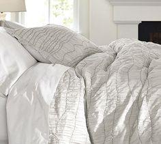 Ruched Voile Duvet Cover & Sham in grey for the decorative pillows. Like the texture & detail but still simple.