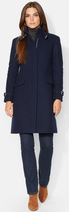 Ralph Lauren Wool Blend Twill Walking Coat