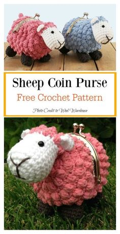 Sheep Coin Purse Free Crochet Pattern Coins could be very helpful in certain situations. Here are some Crocheted Coin Purse Free Patterns to help make special and beautiful purses to keep coins. Purse Patterns Free, Coin Purse Pattern, Bag Pattern Free, Handbag Patterns, Knitting Patterns, Crochet Sheep Free Pattern, Crochet Ideas, Crochet Crafts, Crochet Free Patterns
