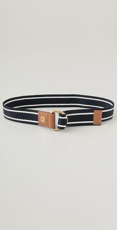TORY BURCH-striped webbing belt