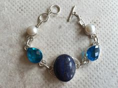 Silver Bracelet/Natural Lapis Blue Glass Freshwater by FootSoles