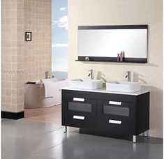 Buy the Design Element Black Direct. Shop for the Design Element Black Francesca Free Standing Vanity Set with Cabinet, Top with Vessel Sinks and Matching Mirror and save. Black Vanity Bathroom, Double Sink Bathroom, Double Sink Vanity, Vanity Set With Mirror, Best Bathroom Vanities, Wall Mirror, Bathroom Mirrors, Bathroom Cabinets, White Bathroom