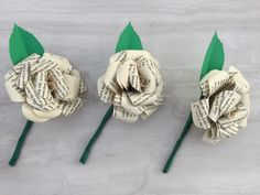Paper Rose Buttonhole, Paper Lily Buttonhole, boutonniere, Groom's buttonholes, men's buttonholes, wedding flowers, paper flower buttonholes by DianaSianCrafts on Etsy