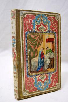 LIVRE ANCIEN 1850 couverture gaufrée romantique MEDAILLON éditeur MEGARD ROUEN