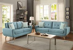Homelegance Deryn Mid-Century Modern Sofa with Tufted Back and Two Herringbone Throw Pillows, Teal: Kitchen & Dining
