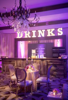 Drinks Marquee Sign | Carla Ten Eyck Photography | blog.theknot.com