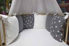 Sada do postýlky - hvězdičky bílé střední II / Zboží prodejce Ráj Nápadů | Fler.cz Baby Bedroom, Bed Pillows, Pillow Cases, Couture, Home, Baby Sewing, Pillows, Room Baby, Haute Couture