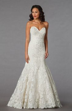 Sweetheart Mermaid Wedding Dress  with Dropped Waist in Lace. Bridal Gown Style Number:32851701