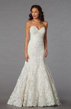 Bridal Gowns: Danielle Caprese Mermaid Wedding Dress with Sweetheart Neckline and Dropped Waist Waistline
