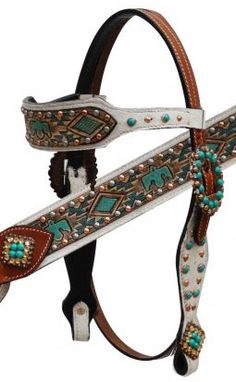 Saddles Tack Horse Supplies - ChickSaddlery.com Showman Hair On Cowhide Headstall, Breast Collar, Reins Set With Aztec Eagle Design