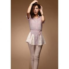 Ladylike Lace Splicing Flared Hem Short Sleeves Women's Cotton Shirt