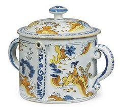 17th century English Delftware Polychrome Posset Pot