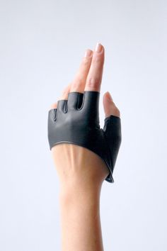 My fingerless half scoop leather gloves