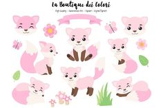 Pink Fox Clipart Graphics Pink Fox Clipart, Cute Digital PNG Graphics, Fall Woodland Animals Clip art.Ideal for planner stic by La Boutique dei Colori