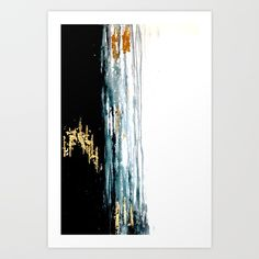 Teal and Gold Rain Art Print by sophie_lemieux | Society6