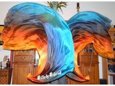 Sahariah's Silk Belly Dance Veil Killer Tornado Poi Voi Set 2 5mm Poi Veils and Set of Poi Chains Summer SALE by SilksbySahariah on Etsy