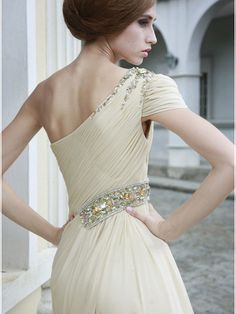 Short Evening Dresses For Women - Distinct Beaded Wrinkled Chiffon Summer Promotion Dress With One ...