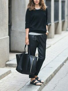 Have you jumped on the Birkenstock bandwagon? Or have you busted out your old ones? These iconic and super comfy sandals are selling lik. Estilo Birkenstock, Birkenstock Outfit, Black Birkenstock, Birkenstock Fashion, Caroline Blomst, Undone Look, Leather Trousers, Birkenstocks, Shoes