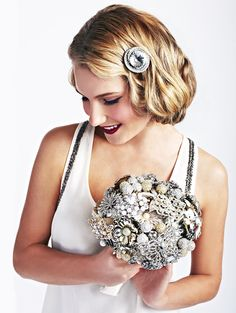 I would be the best MOH if I won this for my sister! This bouquet is unique, beautiful and sparkles just like my sister does! Cute Wedding Ideas, Wedding Trends, Wedding Inspiration, Broach Bouquet, Rose Bouquet, Farm Wedding, Dream Wedding, Love Bears All Things, Wedding Types