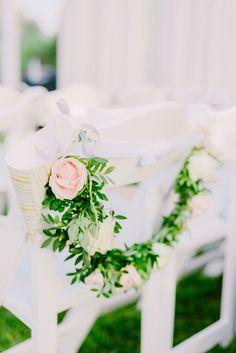Wedding ceremony chair decorations | Lebanese Wedding Athenian Riviera | Elegant Wedding | Luxury Weddings | Greek Island Weddings | Destination Wedding
