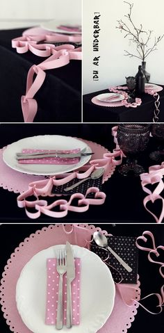 Sweetheart. Black & Pink. Valentine tablescape.