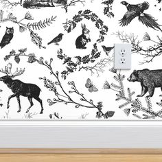Winter Toile(grey and white) custom wallpaper by nouveau_bohemian for sale on Spoonflower Wildlife Wallpaper, Fern Wallpaper, Look Wallpaper, Nursery Wallpaper, Wallpaper Panels, White Wallpaper, Perfect Wallpaper, Textured Wallpaper, Custom Wallpaper