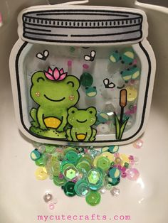 """I love these little froggies so much! The moment I saw them, I knew I was going to get this """"Toadally Awesome"""" stamp set! I made a little shaker out of the How You Bean stamp set, dies,… Cute Crafts, Diy And Crafts, Paper Crafts, Diy For Kids, Crafts For Kids, Mason Jar Cards, Lawn Fawn Stamps, Interactive Cards, Ideias Diy"""