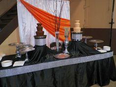 Quinceanera Masquerade 2013 Black, Tangerine and Silver Bling Chocolate Fountains |Creaciones Unicas|