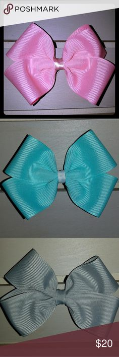 Set of 4 Hair Bows Hair bow solid pastel set (4pcs) (pink, mint, teal, gray) sb creations  Accessories Hair Accessories