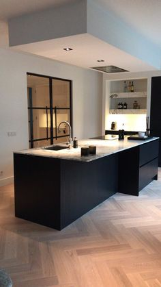 Kitchen Room Design, Modern Kitchen Design, Home Decor Kitchen, Kitchen Interior, Home Kitchens, Open Plan Kitchen Dining, Kitchen Dining Living, Interior Desing, Cuisines Design