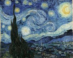 """""""Starry, starry night,  Flaming flowers that brightly blaze,  Swirling clouds in violet haze, Reflect in Vincent's eyes of china blue...  Colors changing hue,  Morning fields of amber grain, Weathered faces lined in pain, Are soothed beneath the artist's loving hand."""" Don McLean"""